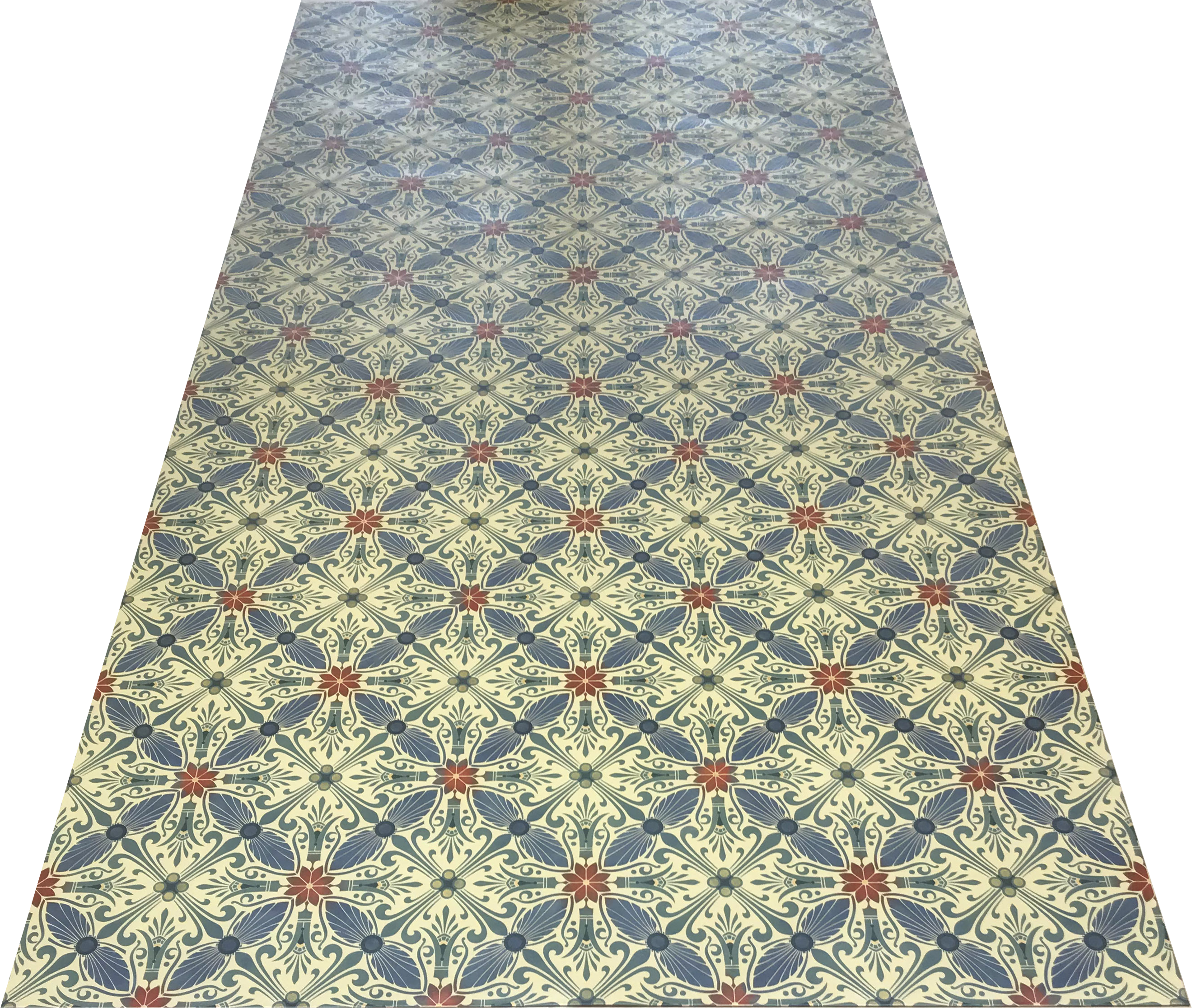 Full image of this floorcloth based on a Christopher Dresser design with an overall diamond pattern and slightly deco elements.