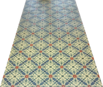 Load image into Gallery viewer, Full image of this floorcloth based on a Christopher Dresser design with an overall diamond pattern and slightly deco elements.