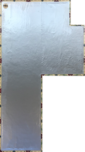 Backside of this shaped floorcloth showing waterproof fabric adhered to hem, with a layer of carpet padding underneath the fabric layer.