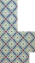 Load image into Gallery viewer, Full image of this shaped floorcloth based on a Christopher Dresser design with an overall diamond pattern and slightly deco elements.
