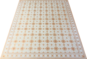 This is a full image of this floorcloth based on a pattern recorded by Esther Stevens Brazer from the Humphries House, c.1800.