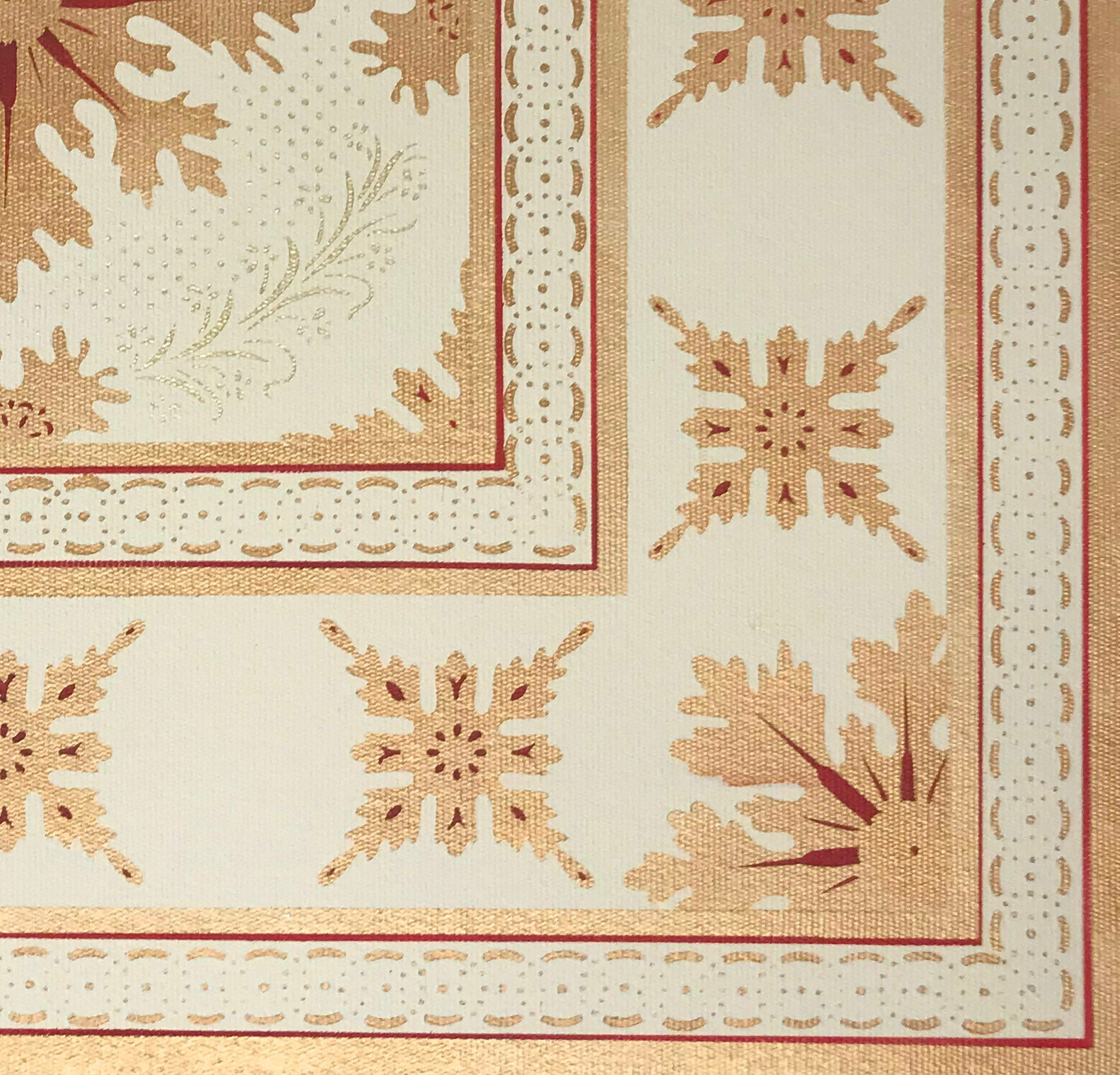 Close up of the corner of this floorcloth showing the border which is a combination of elements from the interior motifs, lines, and a complimentary circle and dot pattern.