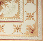 Load image into Gallery viewer, Close up of the corner of this floorcloth showing the border which is a combination of elements from the interior motifs, lines, and a complimentary circle and dot pattern.