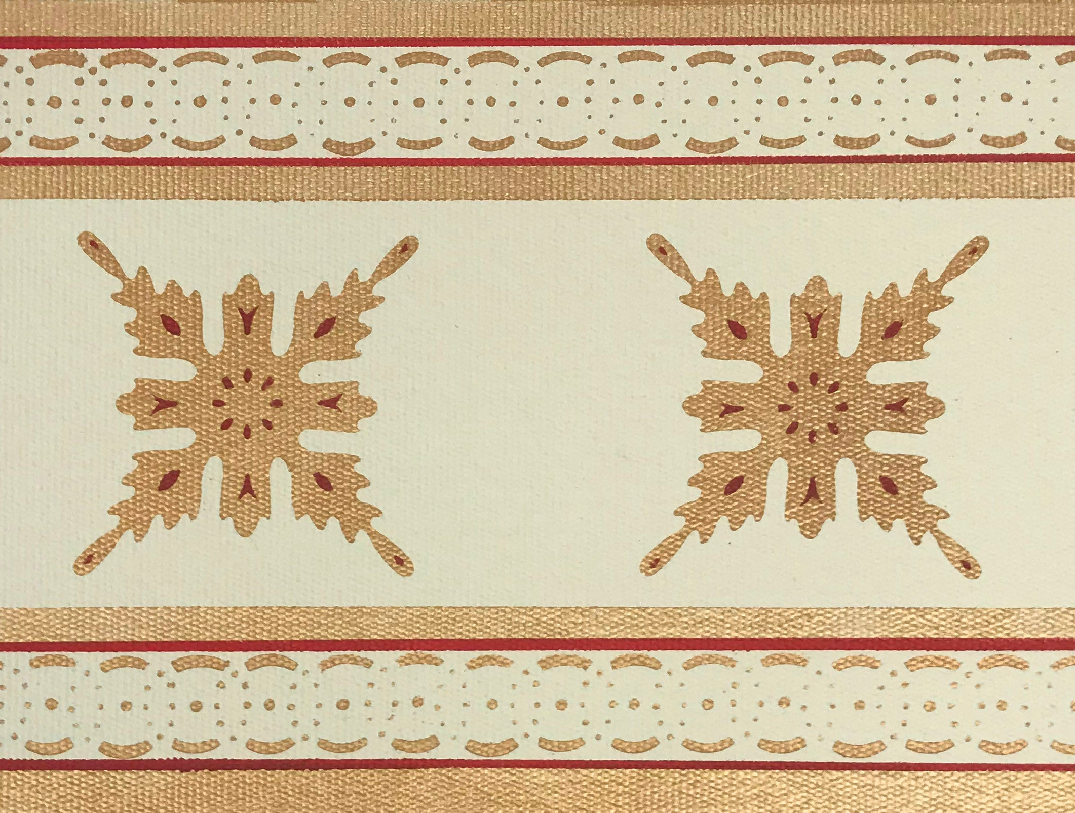 Close up of the border of this floorcloth showing the border which is a combination of elements from the interior motifs, lines and a complimentary circle and dot pattern.