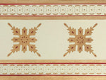 Load image into Gallery viewer, Close up of the border of this floorcloth showing the border which is a combination of elements from the interior motifs, lines and a complimentary circle and dot pattern.