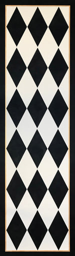 Load image into Gallery viewer, The full image of this traditional floorcloth which employs a classic harlequin pattern of elongated diamonds in cream and black.