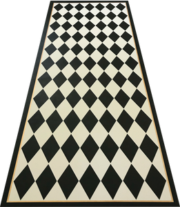 "Full image of this 5'3"" x 15' 9"" harlequin patterned floorcloth in a soft yellow-white and charcoal colorway."