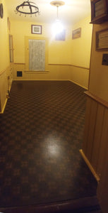This is the fully installed wall-to-wall floorcloth, a reproduction of an original linoleum pattern, c.1910 or so.