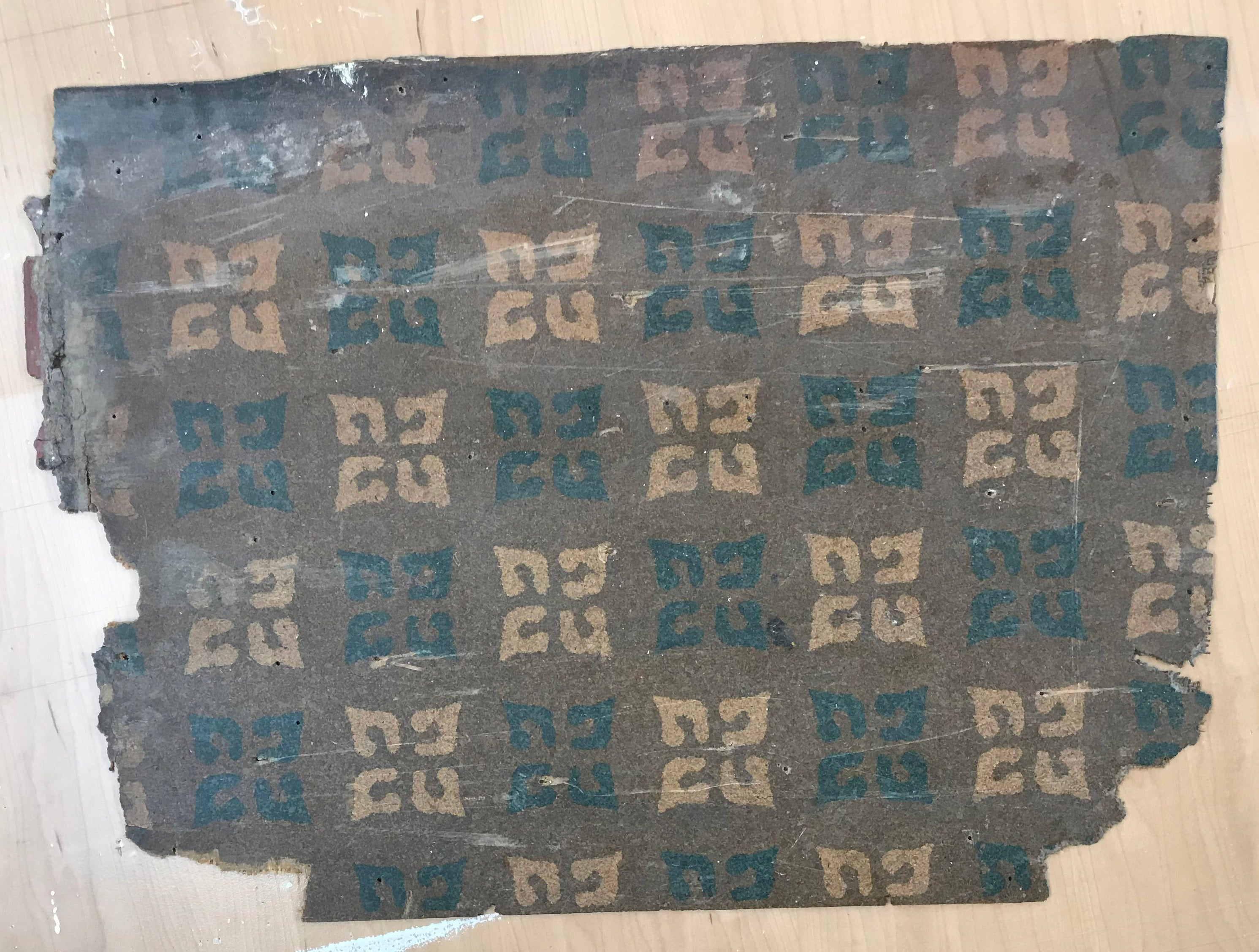 This is the source for this floorcloth - a scrap of the original linoleum.