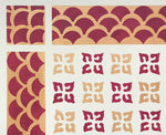 Load image into Gallery viewer, A close up of the corner of this unique floorcloth combining a linoleum pattern interior and a fishscale border.