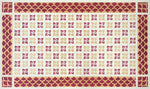 Load image into Gallery viewer, The interior of this floorcloth is based on an original linoleum pattern, c. 1910 or so, and the border is a fishscale pattern from the 1800s.