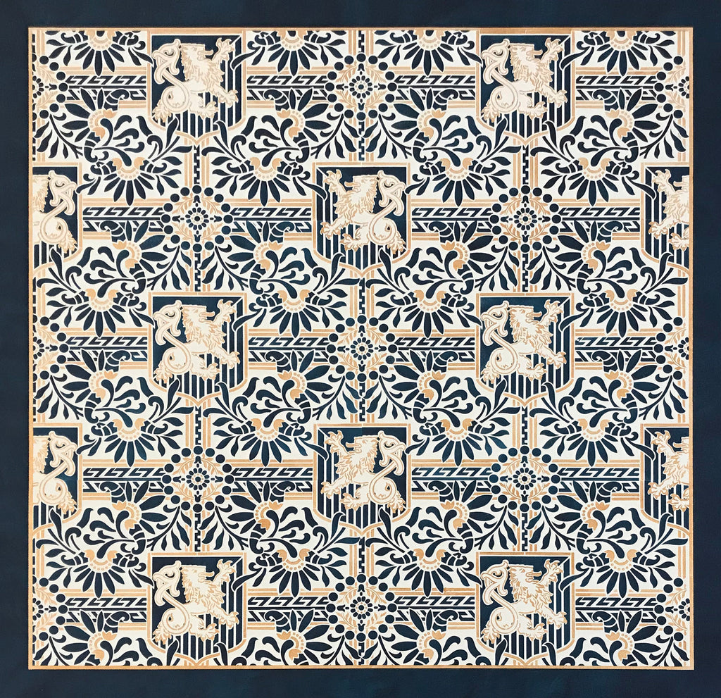This is a full image of this floorcloth, based on a wallpaper pattern, c.1886, from the A.W.P.M.A. (American Wallpaper Manufacturer's Association).