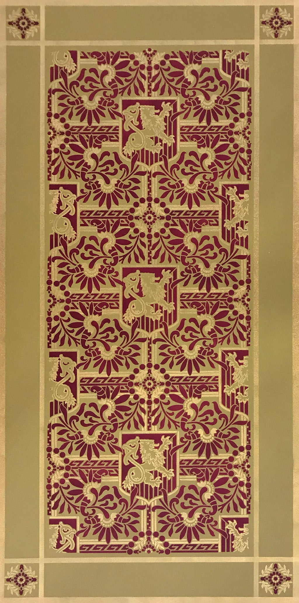 This is a full image of this floorcloth, based on a wallpaper pattern, c.1886, from the A.W.P.M.A. (American Wallpaper Manufacturer's Association). This floorcloth deploys the original wallpaper palette.