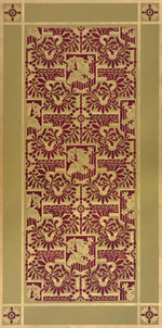 Load image into Gallery viewer, This is a full image of this floorcloth, based on a wallpaper pattern, c.1886, from the A.W.P.M.A. (American Wallpaper Manufacturer's Association). This floorcloth deploys the original wallpaper palette.