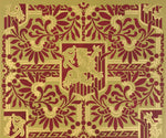 Load image into Gallery viewer, A close up of the pattern for this floorcloth featuring a lion in shield with floral and Greek Key elements.