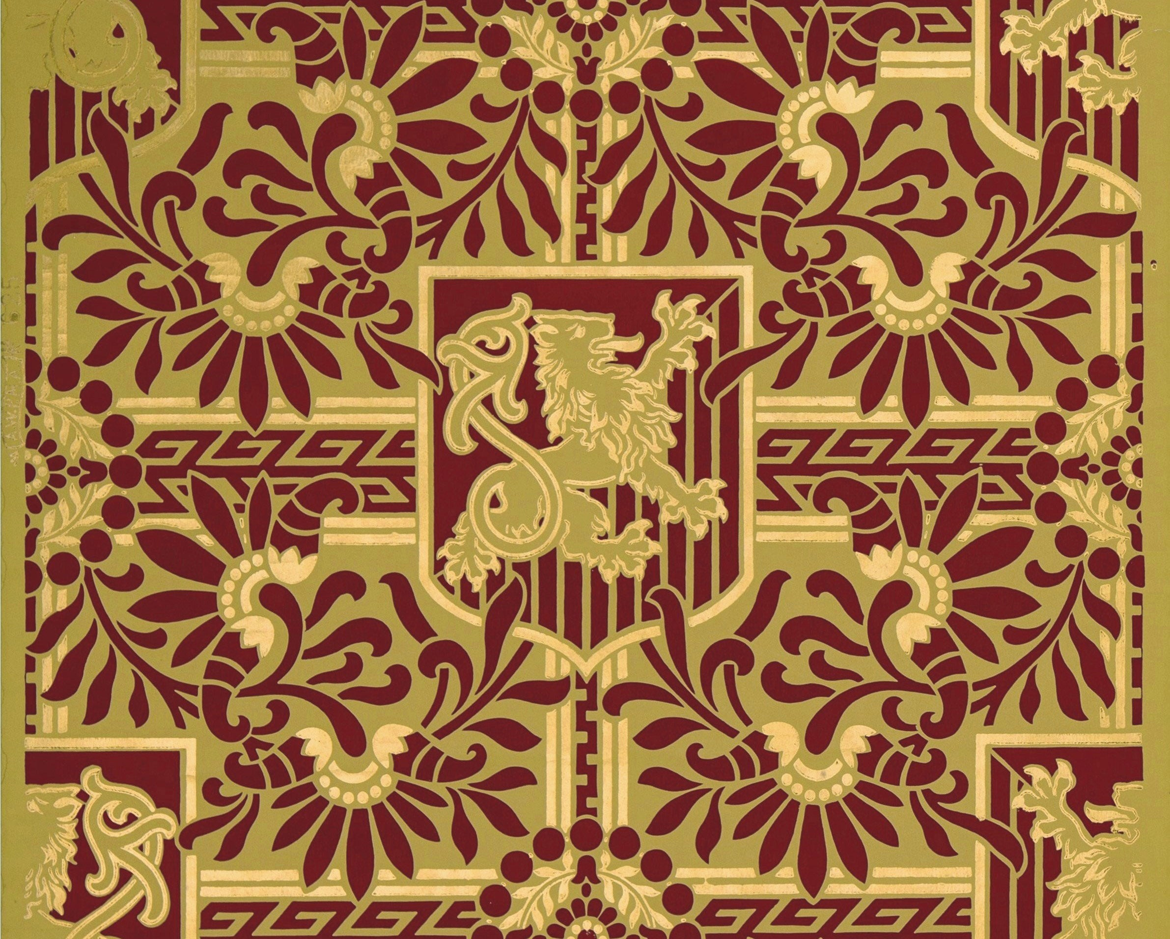 The source image for this fabulous floorcloth pattern. Based on wallpaper produced by the A.W.P.M.A., c. 1886.