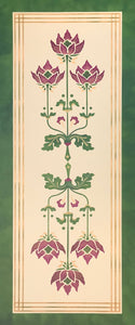 "Full image of this floorcloth based on Christopher Dresser's Poppy motif from ""Studies in Design"" c. 1875."