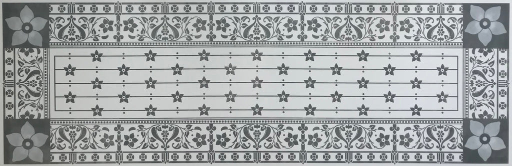 This is the full image of a floorcloth runner based on a fabulous pattern from Christopher Dresser.