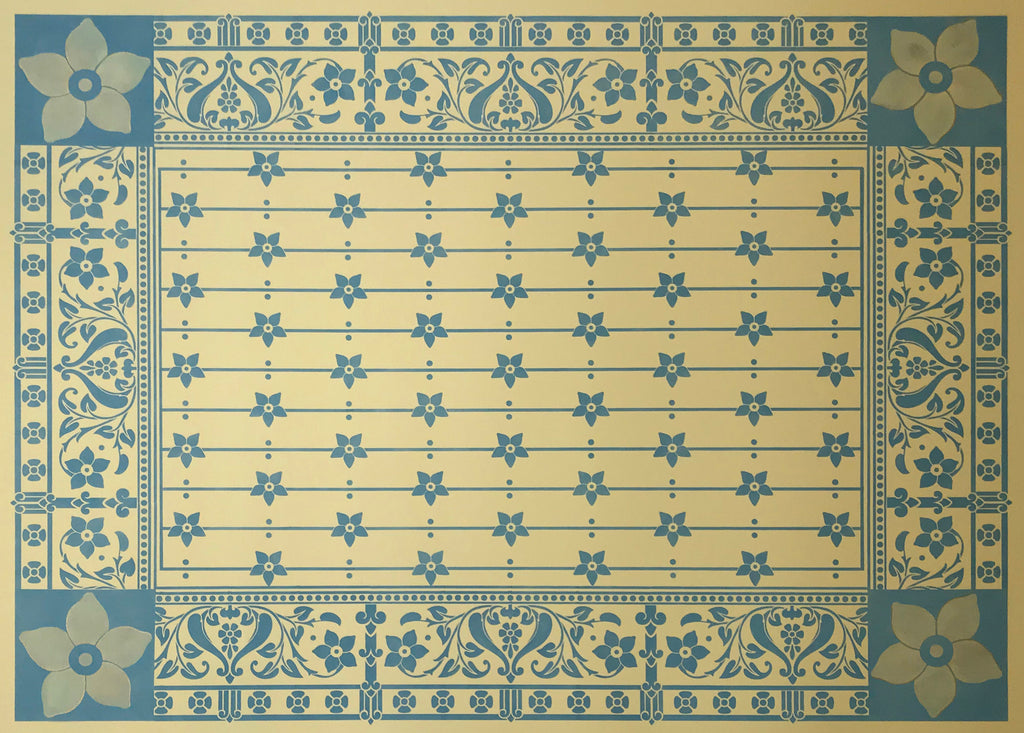 This is the full image of this shaped floorcloth, based on a design by Christopher Dresser, c.1875.