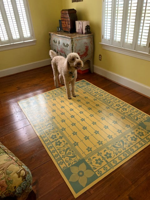 In-situ image of this floorcloth based on a Dresser design.  Did we mention that doggies love floorcloths?