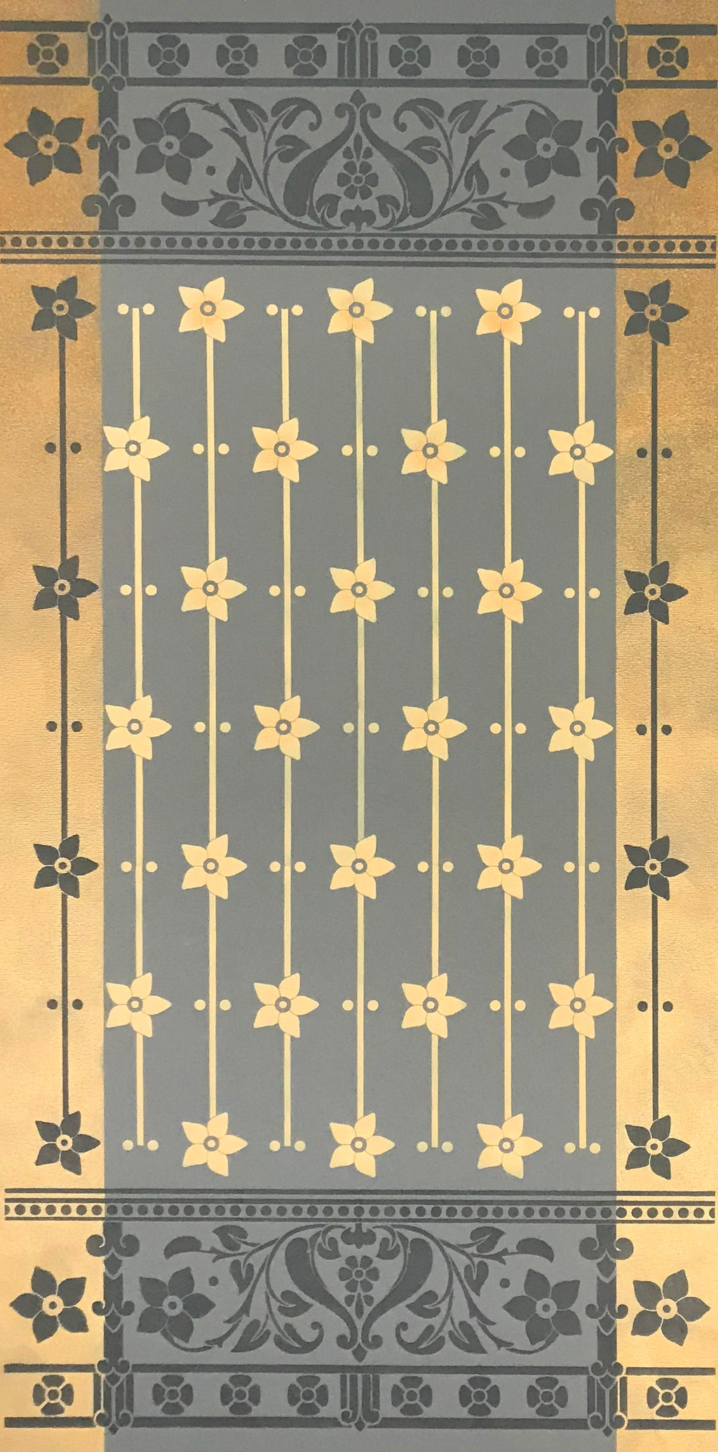 The full image of this floorcloth based on an 1875 Christopher Dresser pattern that looks both modern and influenced by Japanese design (which much of Dresser's work was) in this floorcloth version.