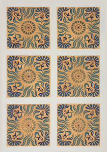 "The full image of this floorcloth with six arts and crafts ""tiles""."