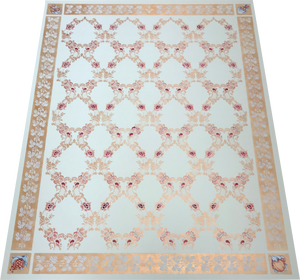 Full image of this floorcloth which is based on an ornate floral damask design that creates a trellis effect.  The border is an organic leaf and berry motif, deliberately given a worn effect, and the corners are hand-painted fruits based on carvings on the buffet in the room where this floorcloth resides.