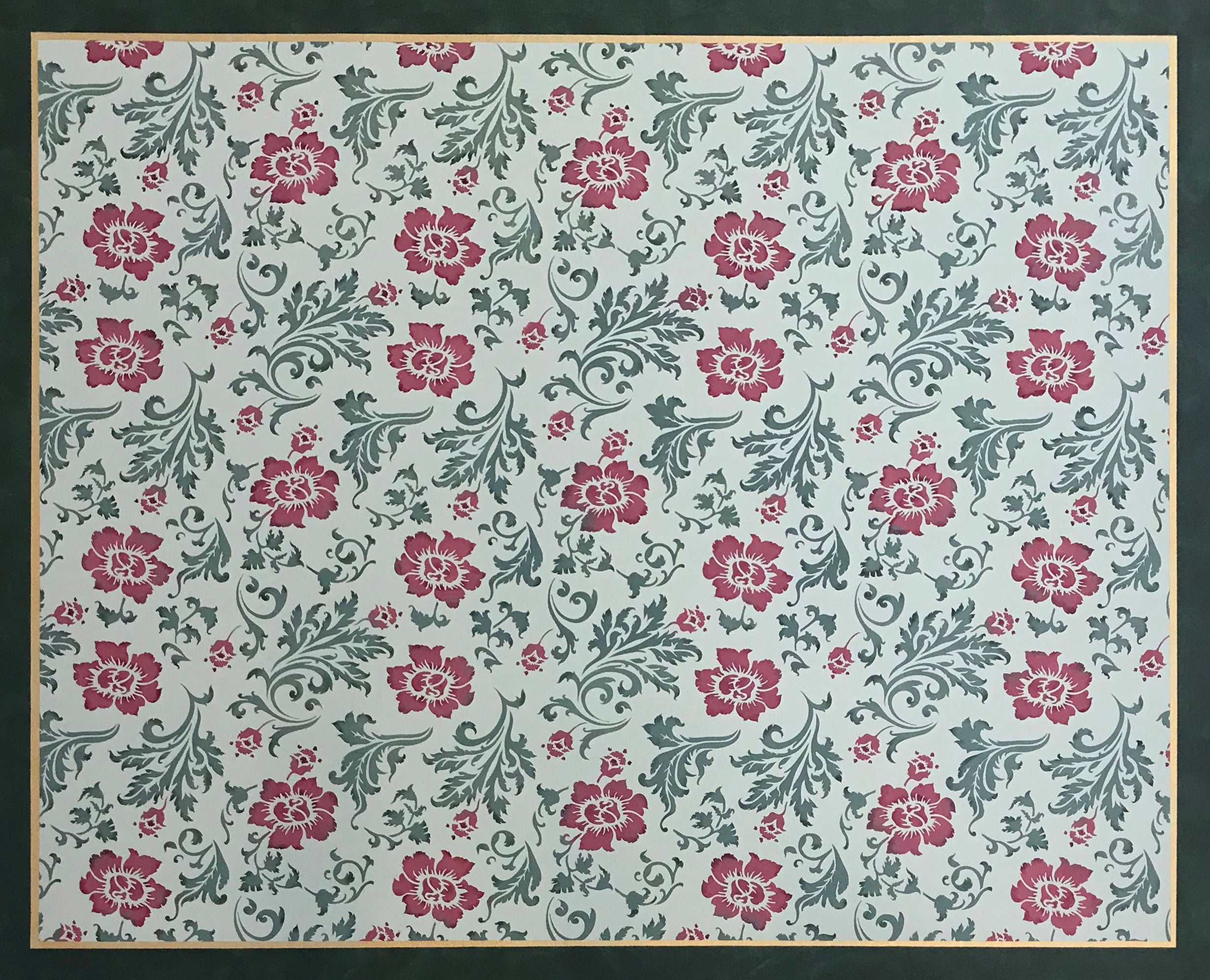 Full image of this floorcloth based on a lovely all-over floral pattern that is organic in its execution, creating a carpet of blooms, buds, and leaves.