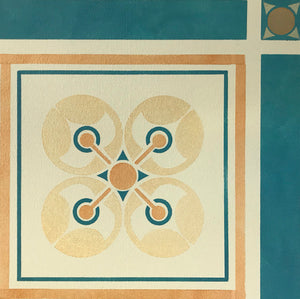 This image is a close up of one of the two geometric motifs, and includes the interior border.
