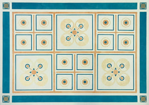 This image shows the full floorcloth based on this wonderful and rare geometric pattern by Christopher Dresser, c 1875.