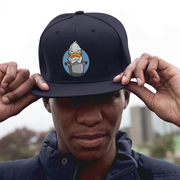 Dark Navy Blue Snap back hats Blue Angry Duck