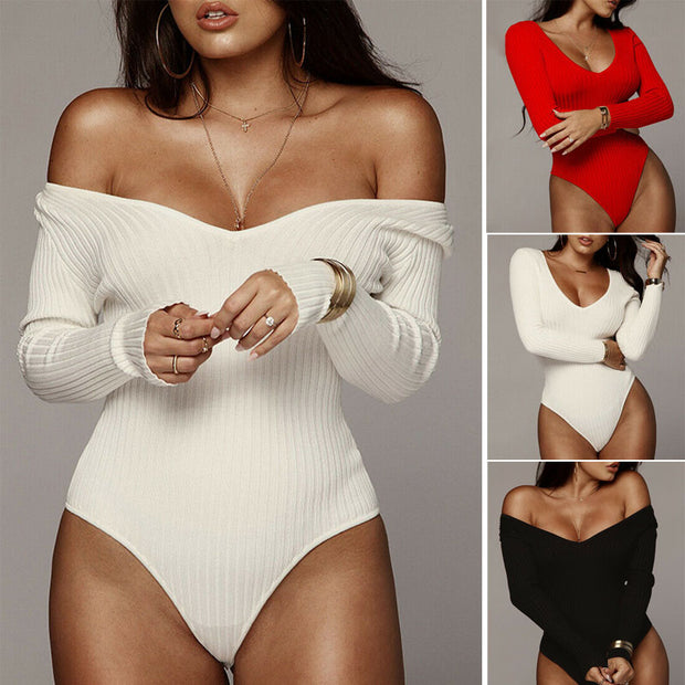 Sexy Women Knitted Solid Long Sleeve Bodysuit  Jumpsuit Clubwear Bodycon Off Shoulder Stretch Bodysuit Leotard Tops Blouse 2020