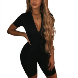 Black Gray Bodycon Playsuit Women Wear On Both Sides Sexy Jumpsuit Autumn Shorts