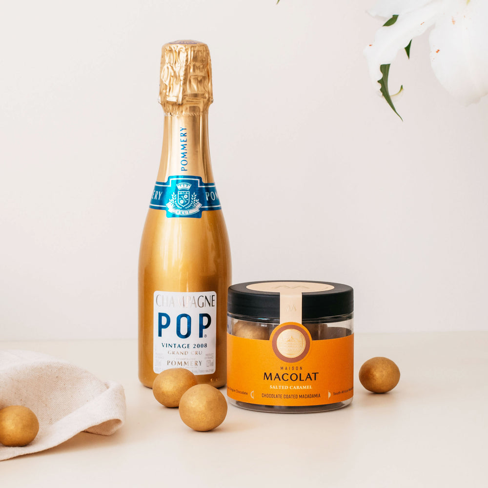 Load image into Gallery viewer, Salted Caramel Macolat 100g & Pommery Gold POP Vintage 2008 20cl.