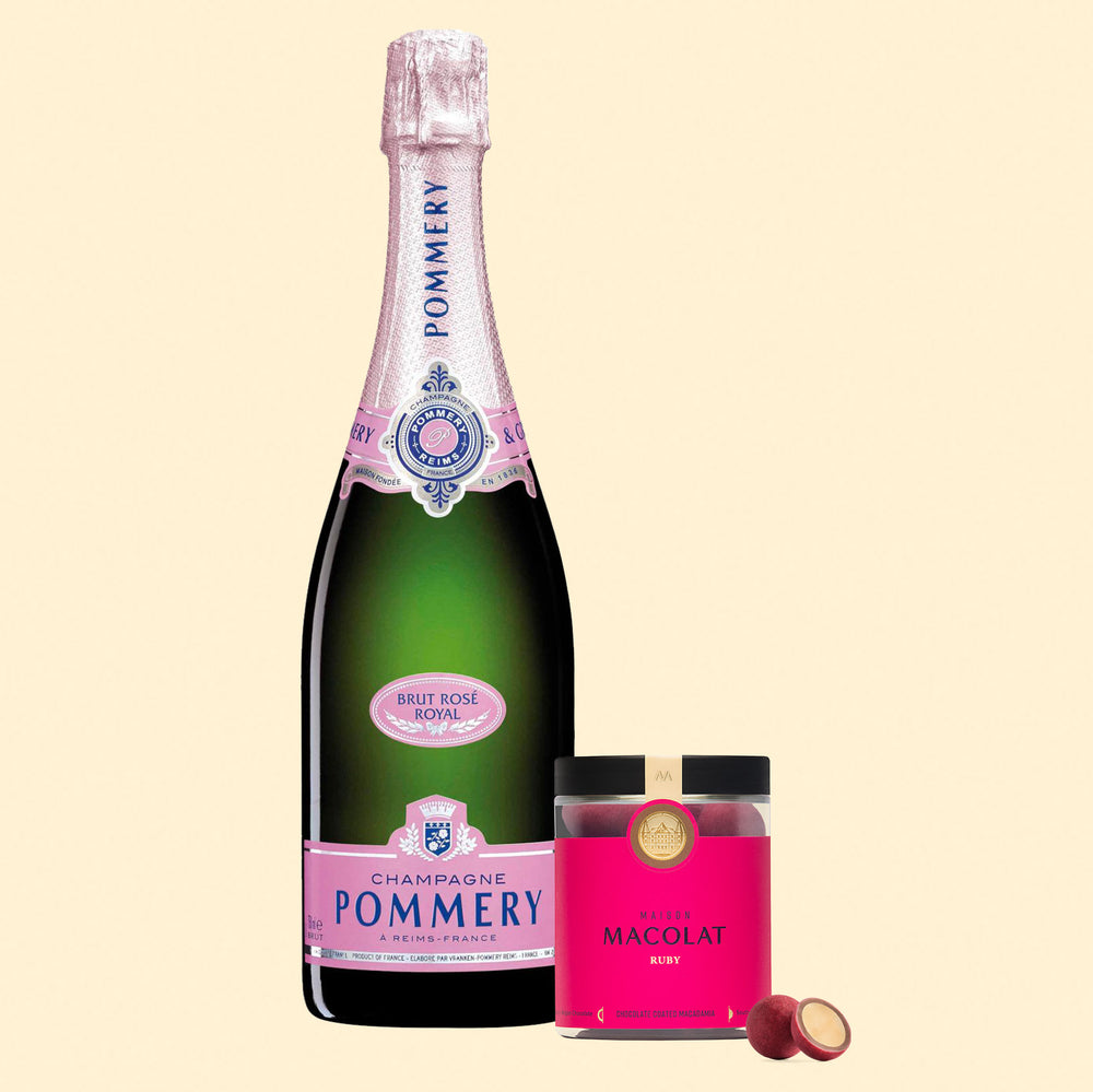 Ruby Chocolate Macolat & Pommery Brut Rosé Royal Gift Set