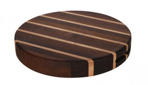 Grunwerg - Rockingham Forest  - Round Extra Thick Multi-Wood Chopping Board - 30cm dia x 4.5cm