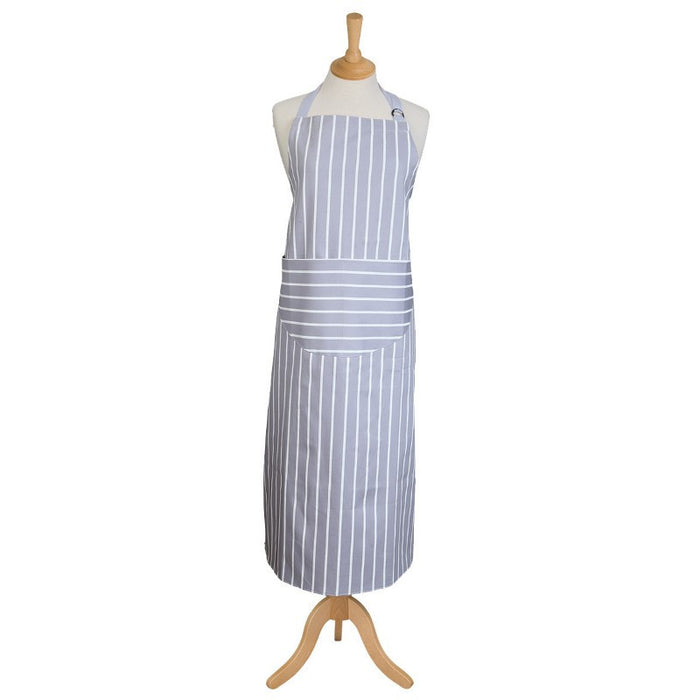 Dexam - Rushbrookes Apron - Butcher's Stripe Dove Grey extra long