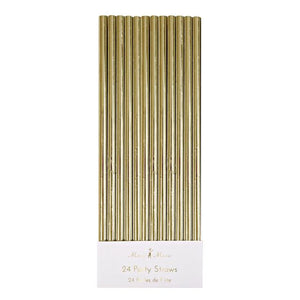 24 party straws gold
