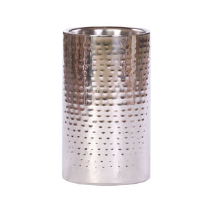 Elegant Straight Sided Wine Cooler Hammered Steel