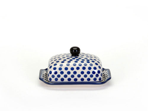 Butter dish small blue dot