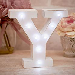 La De Da Living - Distressed LED Light Letter - Y