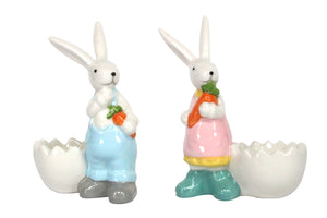 Gisela Graham - Ceramic Boy/Girl Bunny Egg cup (showing two assorted)