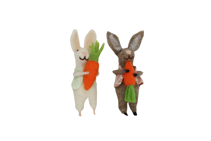 Wool Easter Brown/White Bunny pair holding a Carrot (come as assorted)