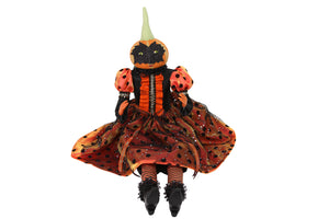 Gisela Graham - Fabric/Resin Pumpkin Witch Ornament