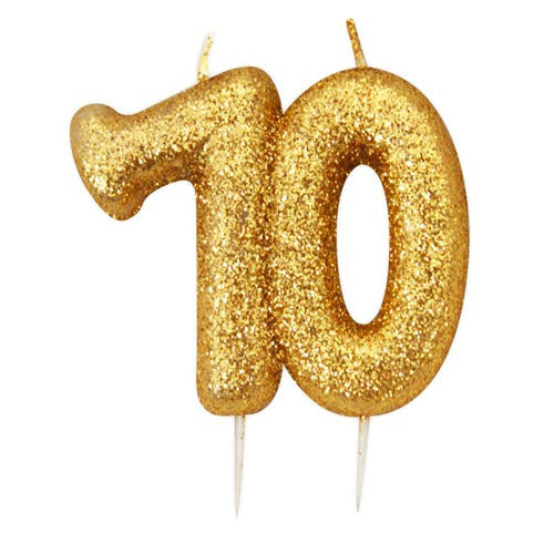 Anniversary House - Age 70 Glitter Numeral Pick Candle - Gold