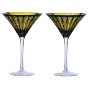 Art - Set of 2 Midnight Peacock Cocktail Glasses