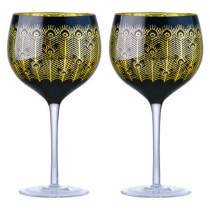 Art - Set of 2 Midnight Peacock Gin Glasses