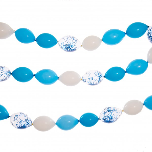 Bubblegum Balloons - Linking Balloon Garland - Baby Blue and White