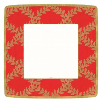 CASPARI PAPER DINNERPLATES RED ACANTHUS