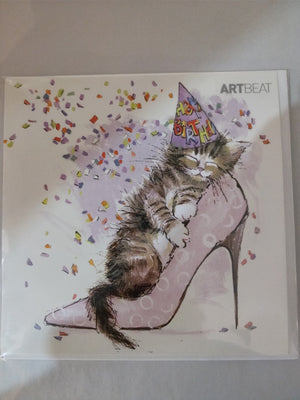 Cat in high heel card